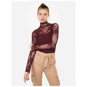 NWT Express Sheer Lace Mock Neck Top